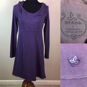 Prana hooded purple knit athletic dress size L